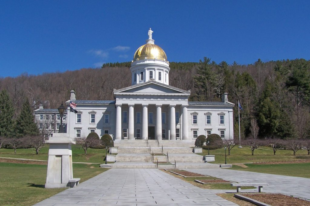 VT statehouse in the Spring spring